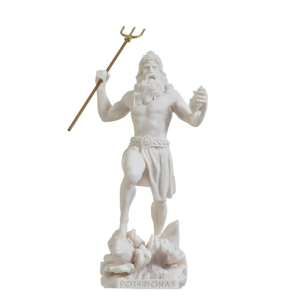 Poseidon Greek God of the Sea  With Trident Statue Figurine Alabaster 9.05″