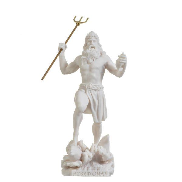 Poseidon Greek God of the Sea  With Trident Statue Figurine Alabaster 9.05″