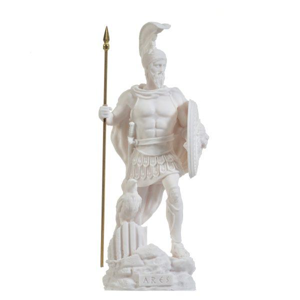 Ares Mars God of War Zeus Son Roman Statue Alabaster 9.84″