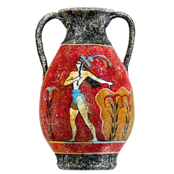 Ancient Greek Minoan Amphora Handmade Ceramic Pottery Vase With Fresco Prince Of Lilies Mural