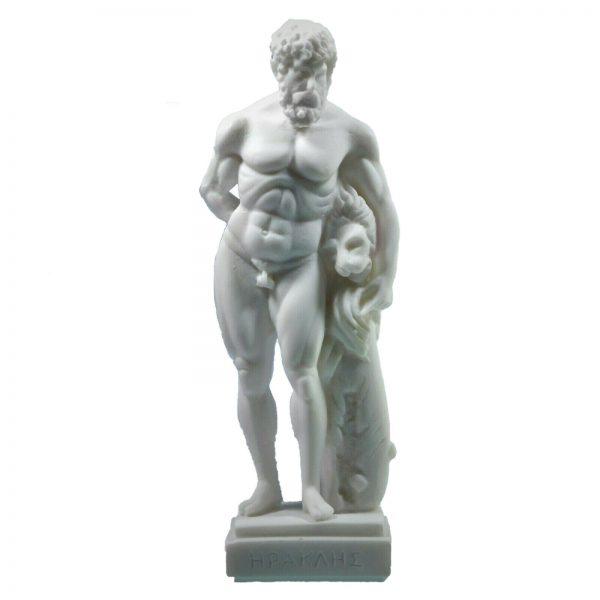 Hercules Nemean Lion Nude Male Alabaster Statue Sculpture NEW Mythology 8.5″
