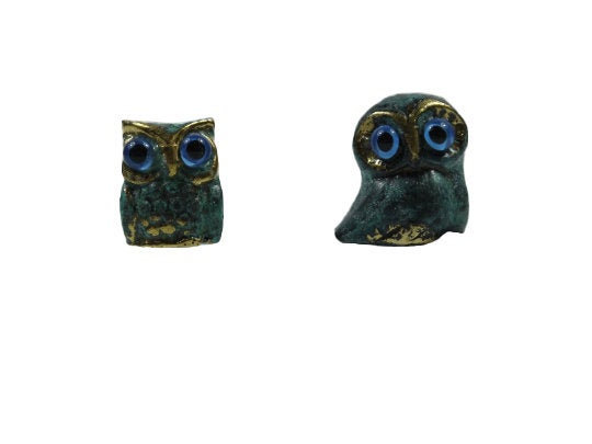 Owl of Athens Wisdom Set of 2 Solid Bronze Greek Green-Gold Handmade Miniature