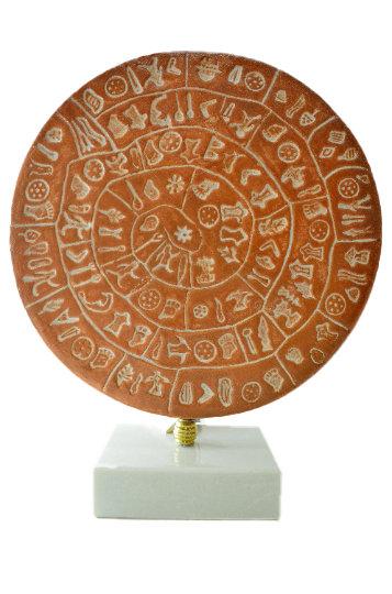 Minoan Phaistos Disc Fired Clay Crete Knossos Handmade  7″ 18x15cm Clay