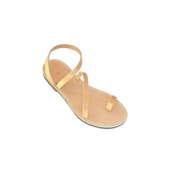 Ancient Greek Style Leather Sandals Roman Handmade Womens Shoes Toe Ring Gold Brown Spartan Summer Strappy Slip-on Slide Flat Flip Flops